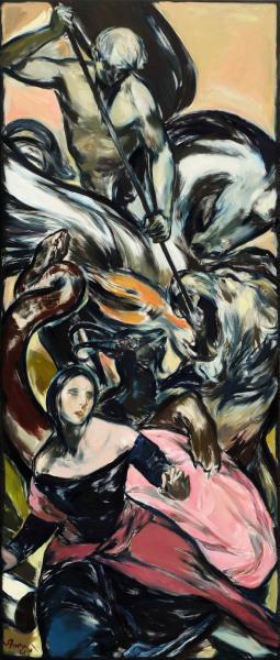 """""""La Bella Tenzone"""" 260 x 110 cm oil on canvas 2021"""