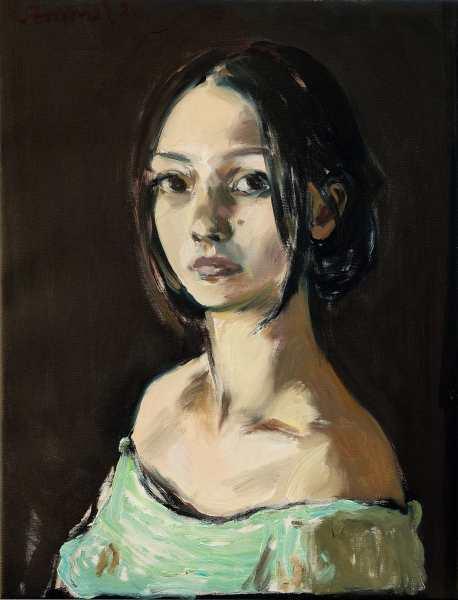"""""""Bildnis einer jungen Frau"""" 57 x 43 cm oil on canvas 2021"""